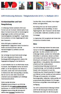 LSVD Schleswig-Holstein: Tätigkeitsbericht 2010 und 1. Halbjahr 2011